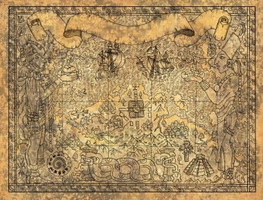 Mayan, aztec or pirate map