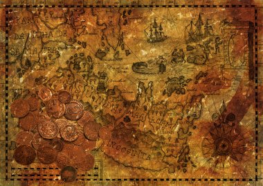 Old pirate map with ancient coins