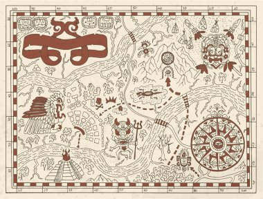 Old Maya or pirate map