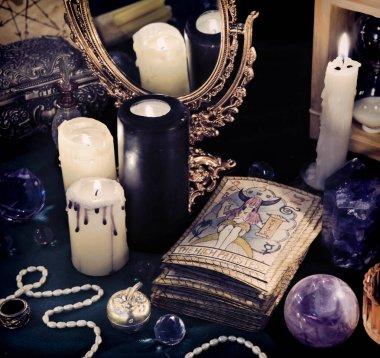 Black magic still life with the Tarot cards