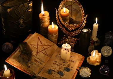 old book, skull, candles and mirror. Halloween concept