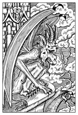 Gargoyle. fantasy illustration