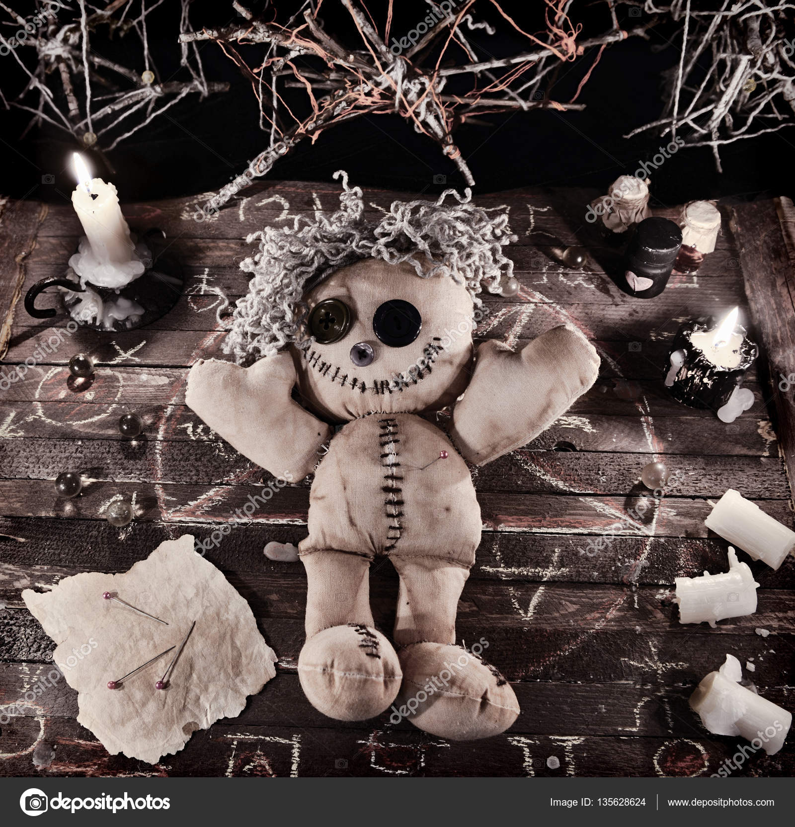 Voodoo Ritual With Doll Stock Photo Samiramay 135628624