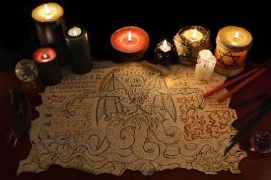 Black magic ritual with demon
