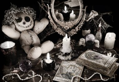 Magic ritual with voodoo doll