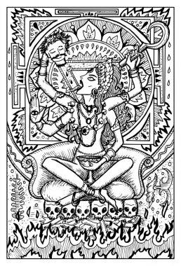 engraved Goddess Kali