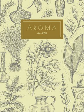 aromatic plants and perfume bottles