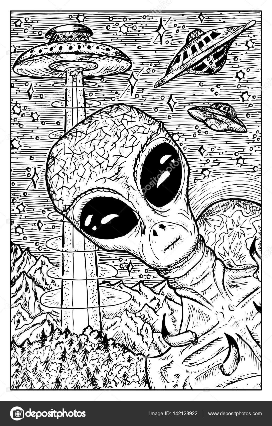 Concepto de Alien y Ovnis — Vector de stock © Samiramay #142128922