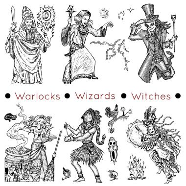 characters of warlocks, wizards and witches