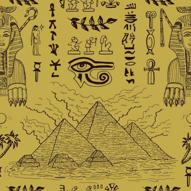Seamless background with Sphinx and pyramids