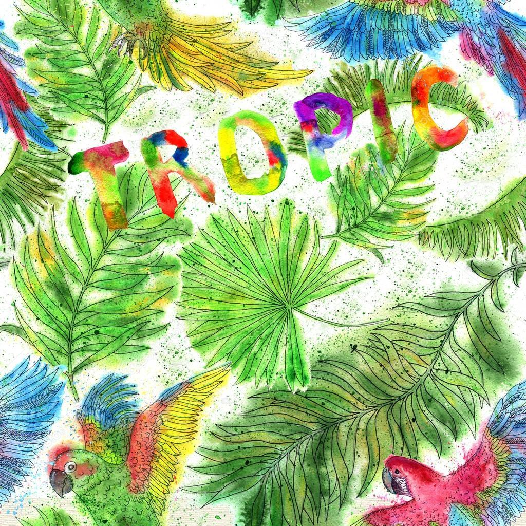 Watercolor set with colorful tropic parrots