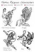 Tattoo set with hand drawn religious characters Kali, Angel, Imp, Hanuman