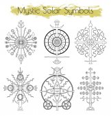 Hand drawn collection with mystic solar symbols
