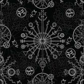 Seamless background with white mystic and occult symbols on black