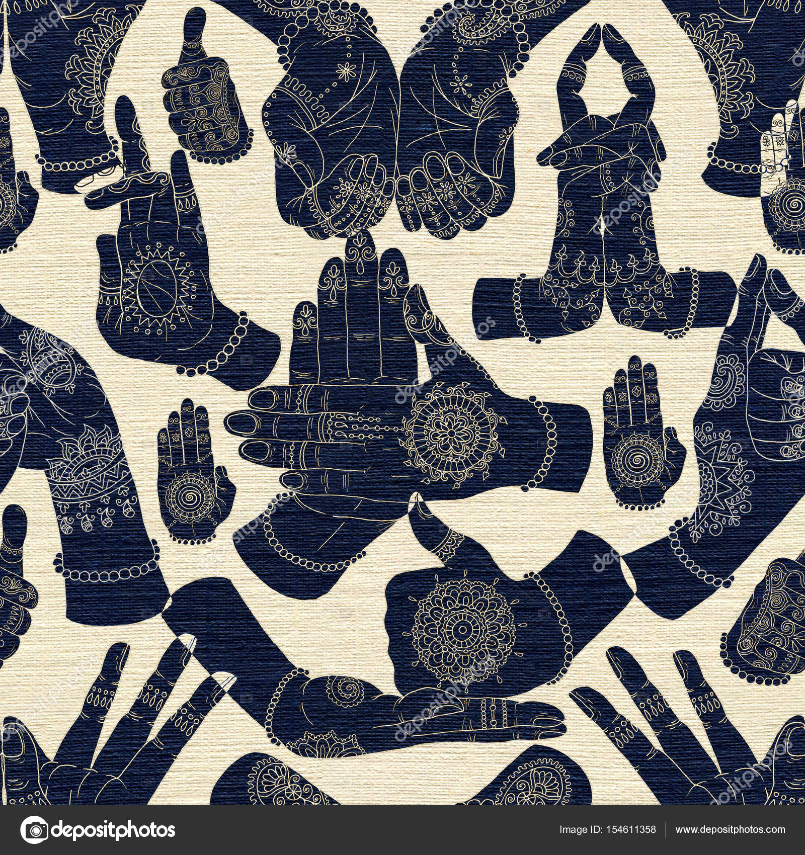 Seamless background with hand mudras on textured background