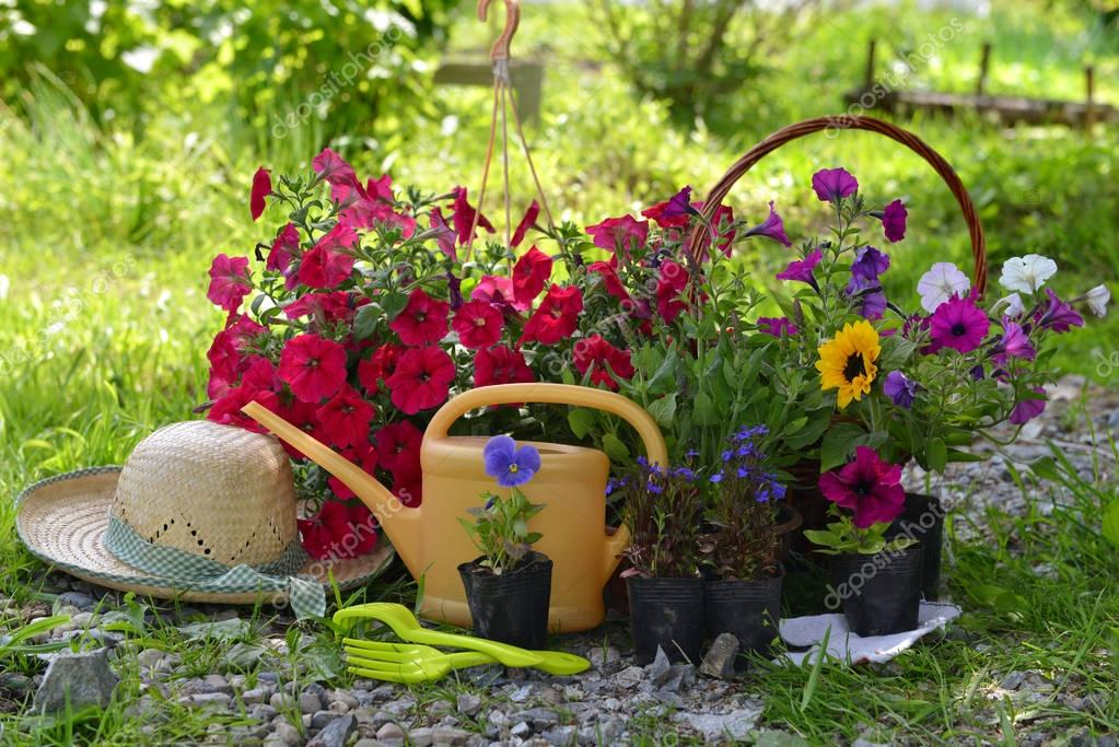 Beautiful flowers and working tools in summer sunny garden