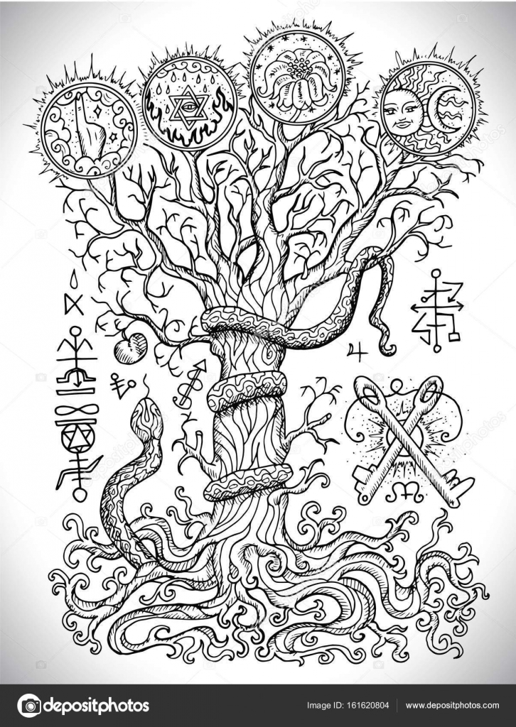 Black and white drawing with mystic and christian religious black and white drawing with mystic and christian religious symbols as snake tree of knowledge biocorpaavc Choice Image
