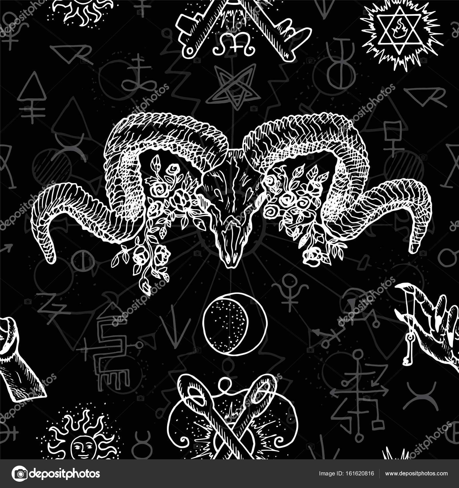 Black And White Seamless Background With Mystic Alchemical And
