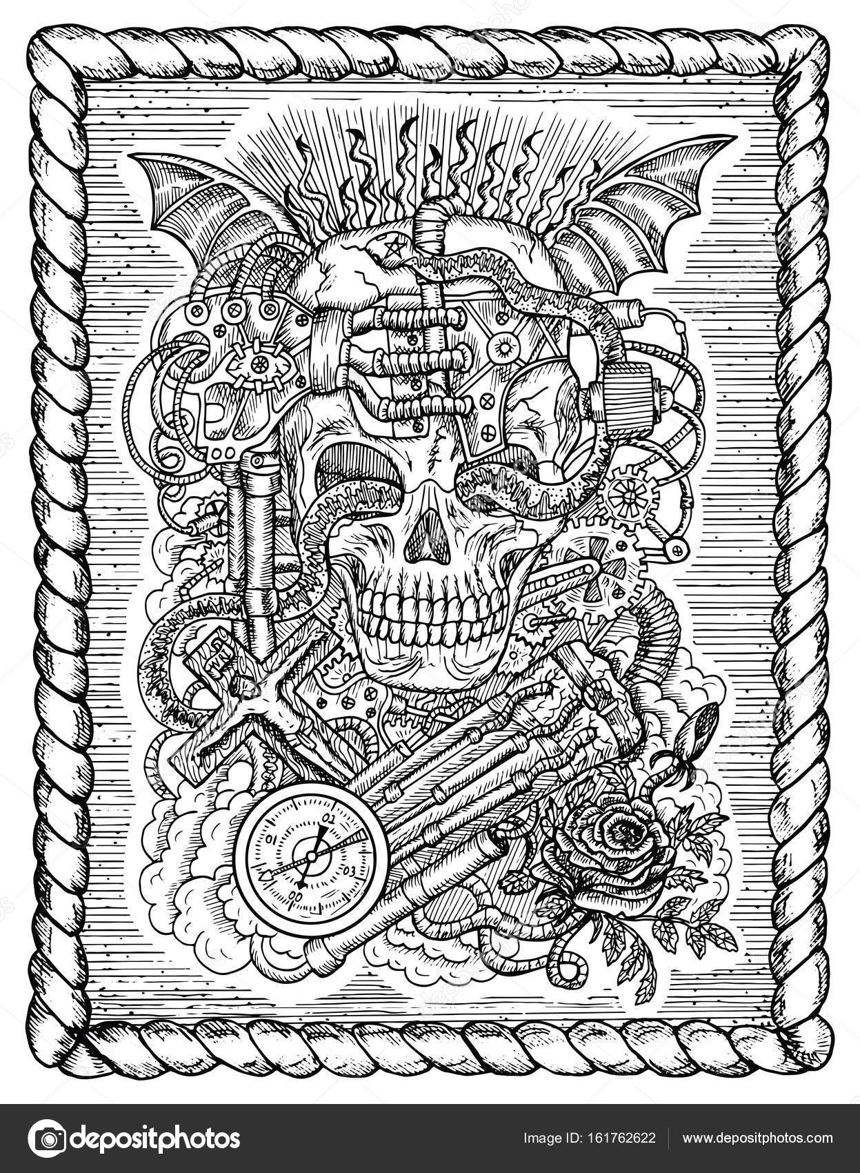 Black and white drawing with scary skull steampunk and ghotic black and white drawing with scary skull steampunk and ghotic symbols as rose demon biocorpaavc Choice Image