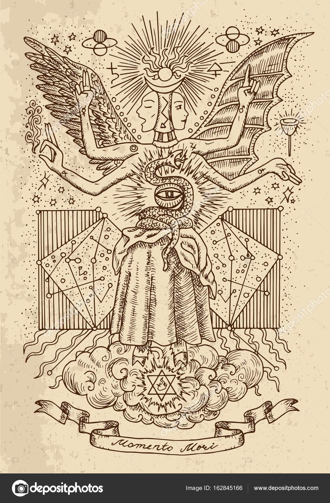 Q Line Art : Mystic drawing of spiritual symbols goddess wisdom and