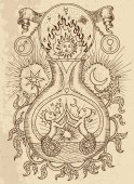 Ystic drawing with spiritual and alchemical symbols, zodiac sign Gemini concept with moon, sun