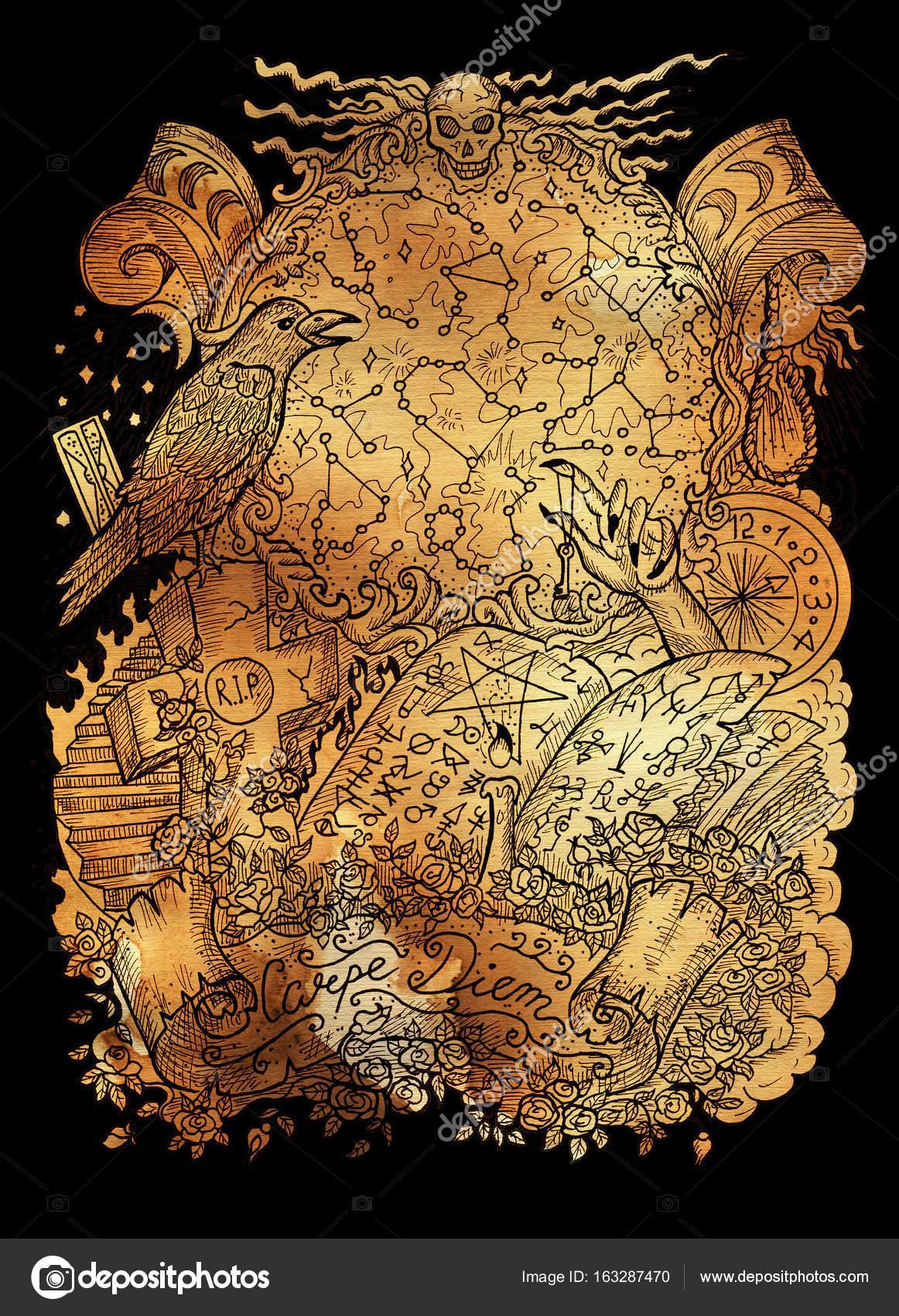 Mystic illustration with magic book, crow, warlock hand, zodiac