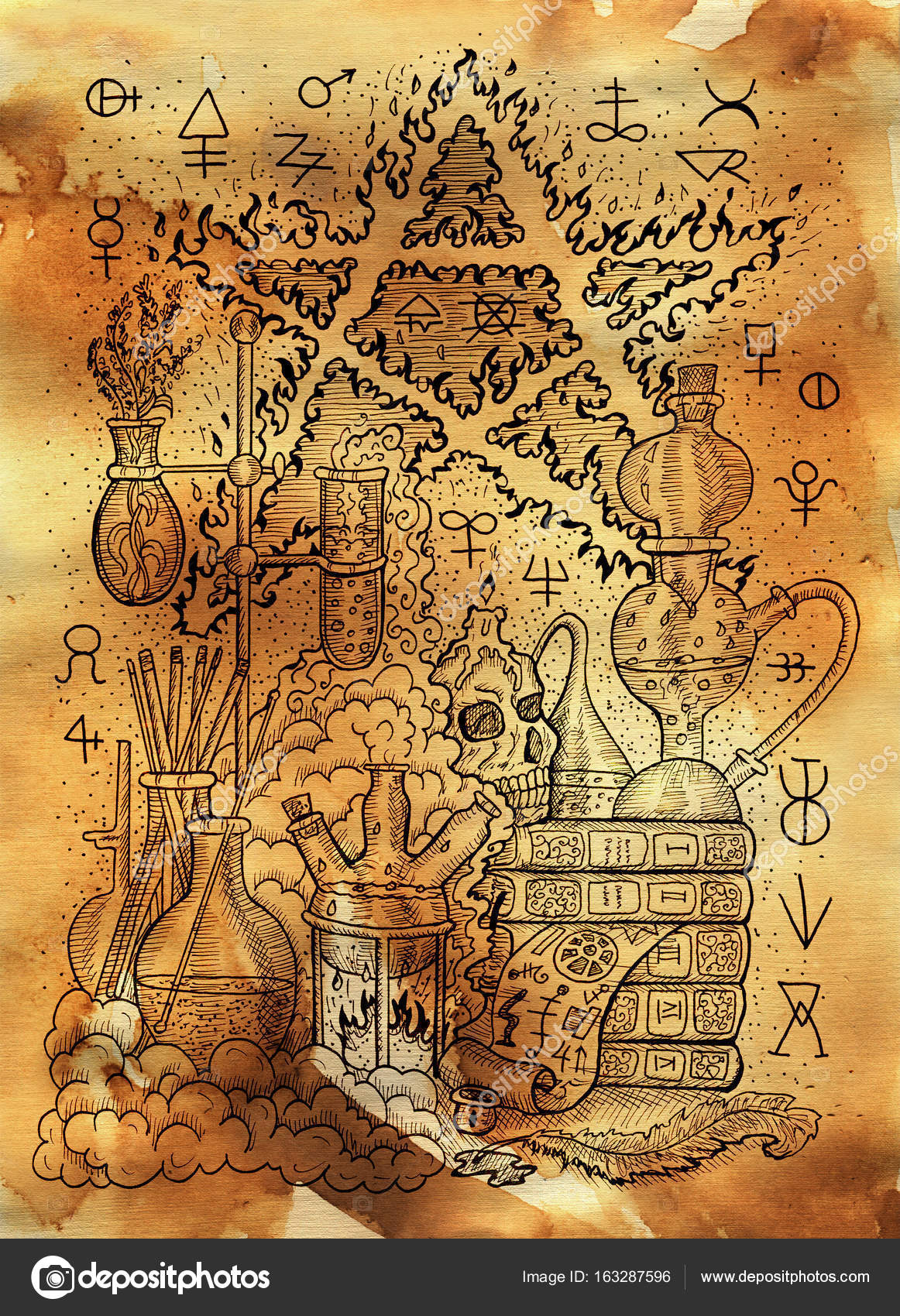 Mystic illustration with alchemical symbols skull fire pentagram mystic illustration with alchemical symbols skull fire pentagram and laboratory equipment on old paper biocorpaavc