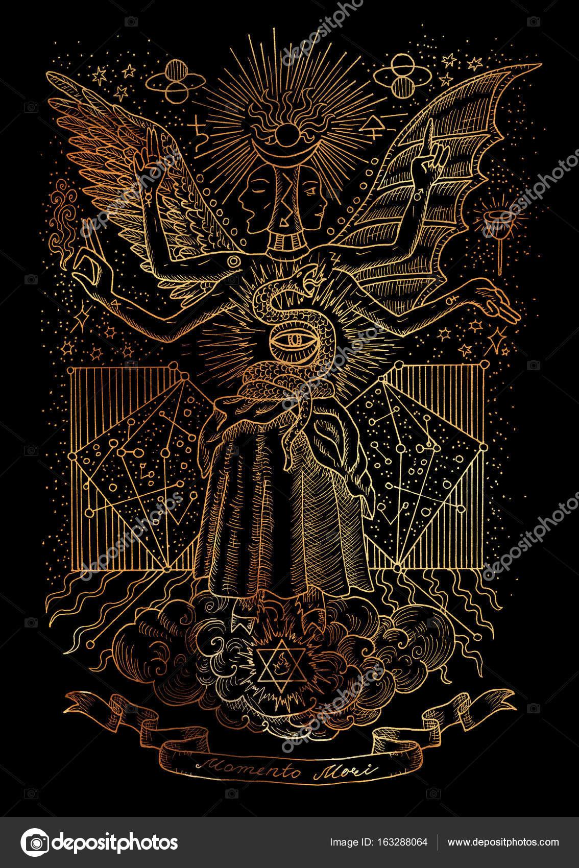 精神的なシンボルの神秘的なイラスト黒い背景に星座 Vingette バナーと