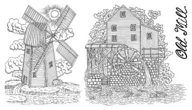 Design black and white set with old mills and lettering