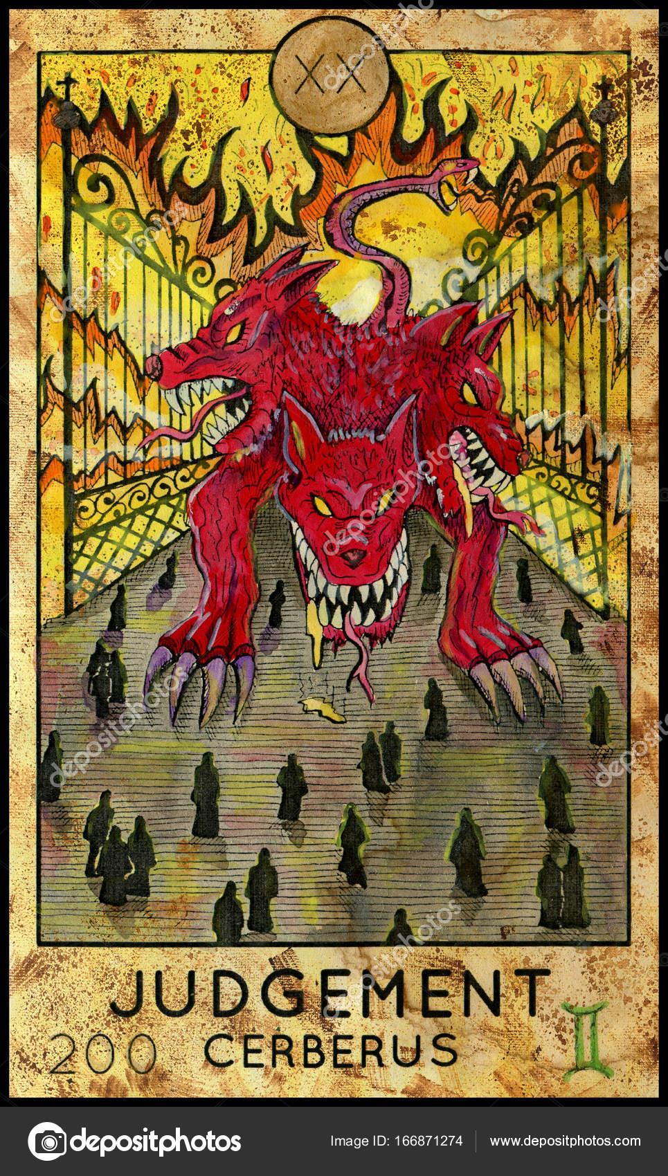 Judgement. Cerberus. Major Arcana Tarot Card