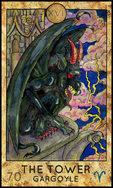 Tower. Gargoyle.  Major Arcana Tarot card