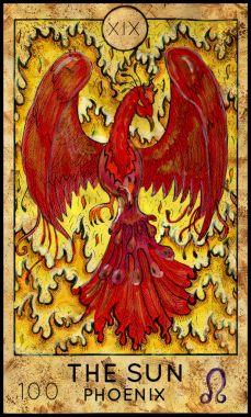 Sun. Phoenix. Major Arcana Tarot card