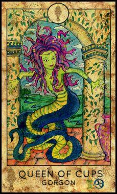 Gorgon. Minor Arcana Tarot Card. Queen of Cups