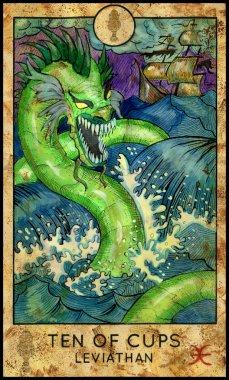 Leviathan. Minor Arcana Tarot Card. Ten of Cups