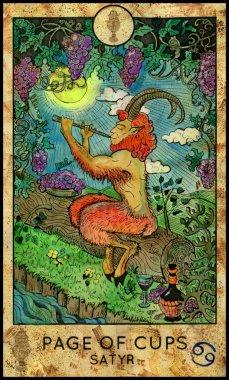 Satyr. Minor Arcana Tarot Card. Page of Cups