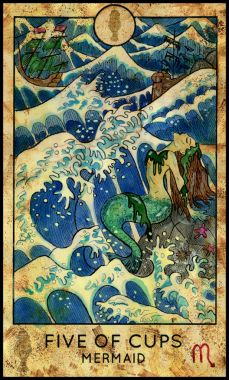 Mermaid. Minor Arcana Tarot Card. Five of Cups.