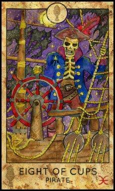 Pirate skeleton. Minor Arcana Tarot Card. Eight of Cups