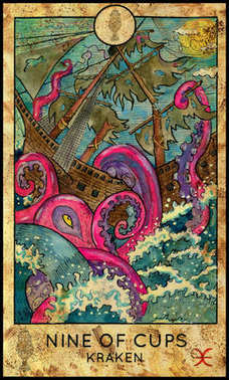 Kraken. Minor Arcana Tarot Card. Nine of Cups