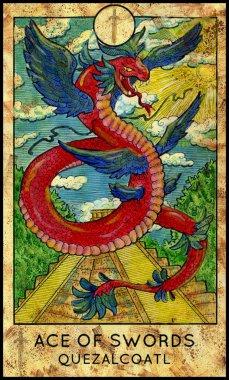 Quetzalcoatl. Minor Arcana Tarot Card. Ace of Swords