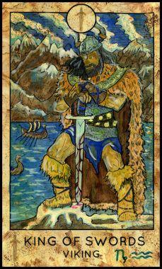 Viking. Minor Arcana Tarot Card. King of Swords