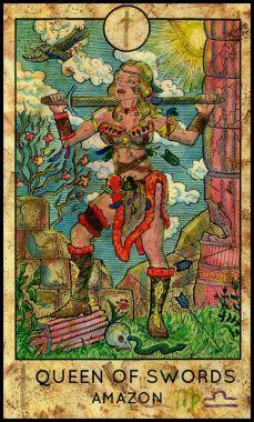 Amazon Warrior. Minor Arcana Tarot Card. Queen of Swords.