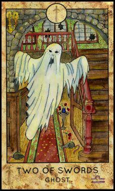 Ghost. Minor Arcana Tarot Card. Two of Swords