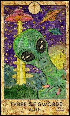 Alien. Minor Arcana Tarot Card. Three of Swords