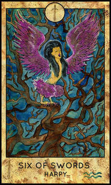Harpy. Minor Arcana Tarot Card. Six of Swords
