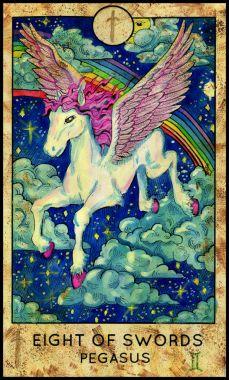 Pegasus. Minor Arcana Tarot Card. Eight of Swords