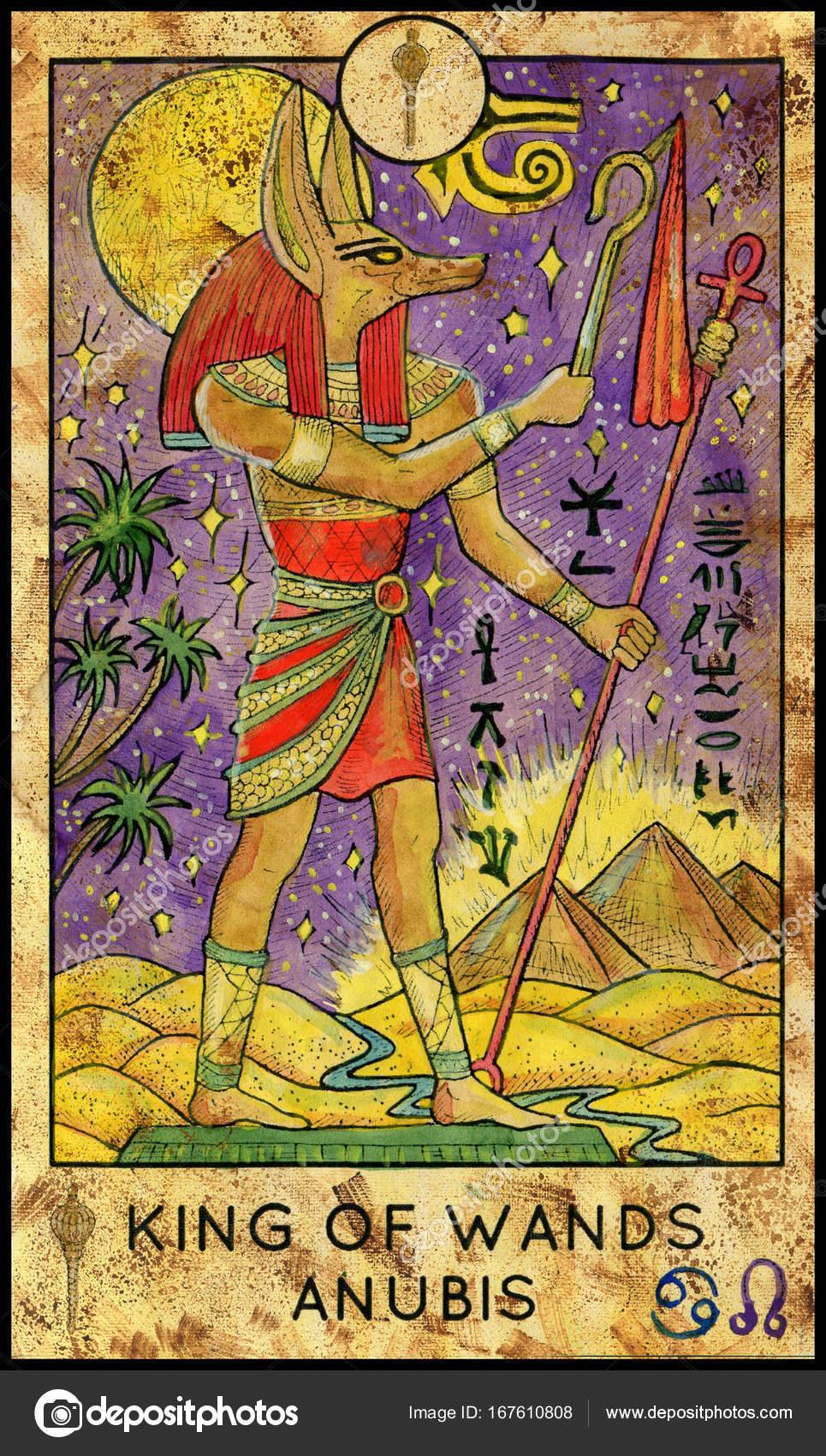 Anubis, ägyptischer Gott. Kleine Arkana Tarot Card König der Stäbe ...