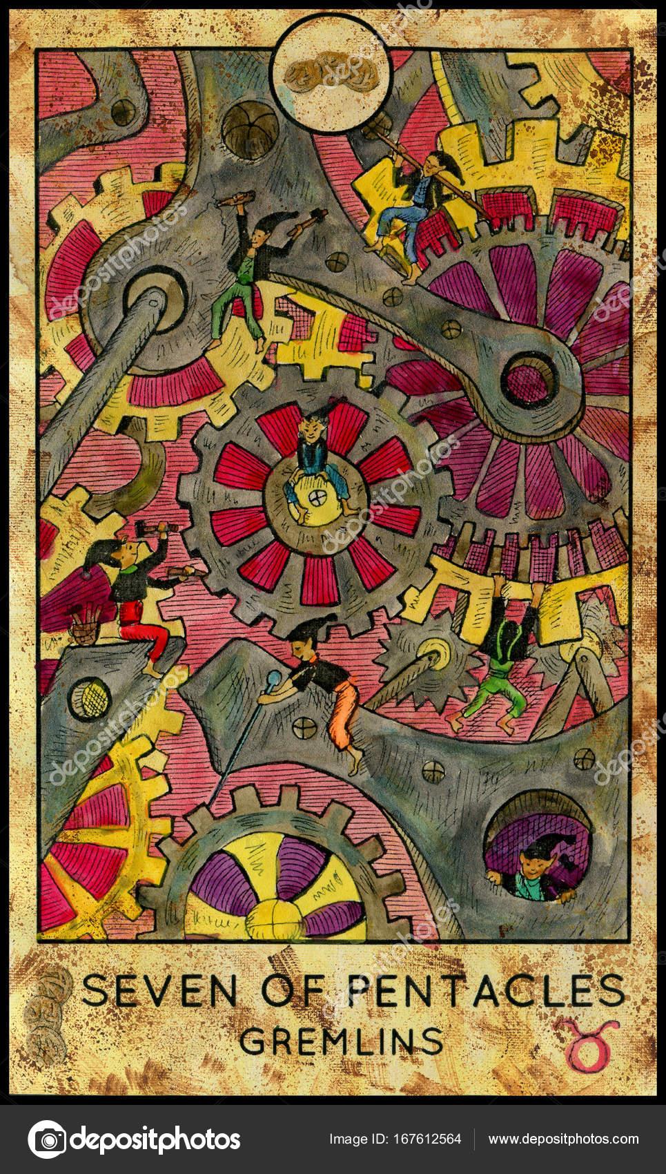 Gremlins  Minor Arcana Tarot Card  Seven of Pentacles — Stock Photo