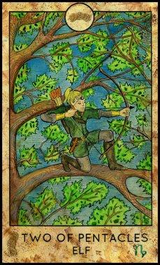 Elf. Minor Arcana Tarot Card. Two of Pentacles