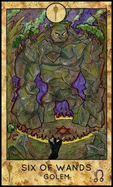 Golem. Minor Arcana Tarot Card. Six of Wands
