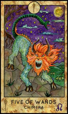 Chimera. Minor Arcana Tarot Card. Five of Wands
